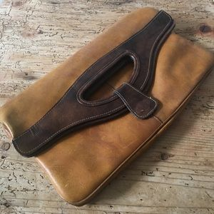 Vintage Two-Tone Leather Clutch